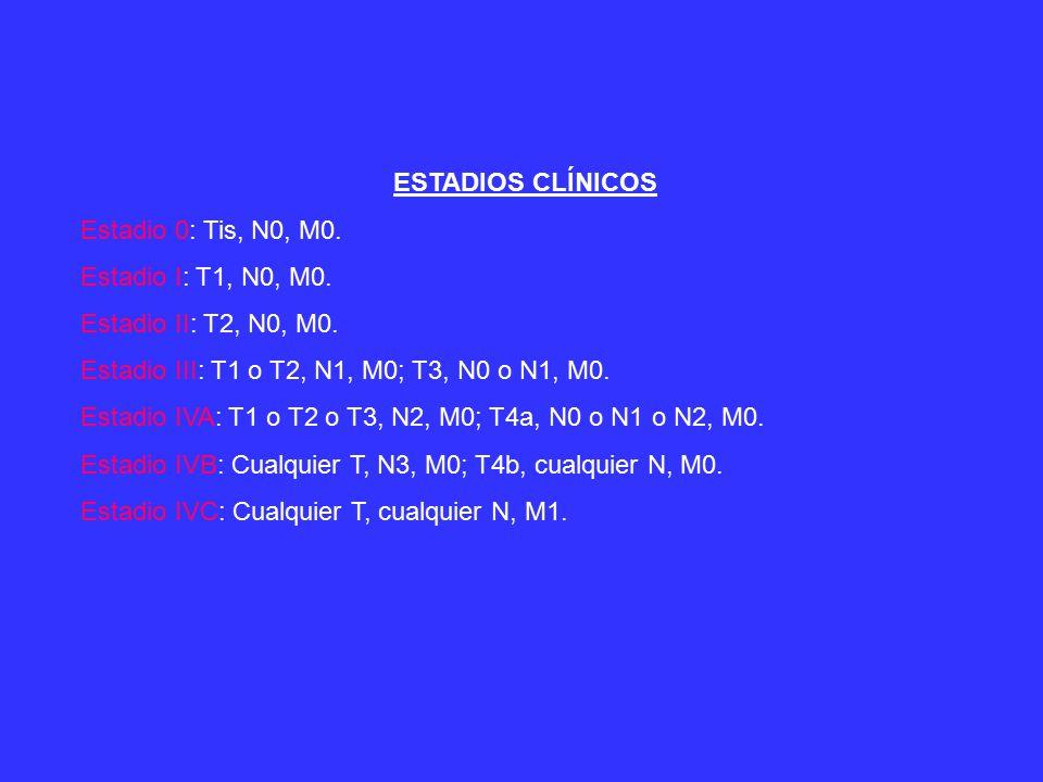 ESTADIOS CLÍNICOS Estadio 0: Tis, N0, M0. Estadio I: T1, N0, M0. Estadio II: T2, N0, M0. Estadio III: T1 o T2, N1, M0; T3, N0 o N1, M0.