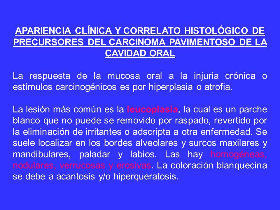 APARIENCIA CLÍNICA Y CORRELATO HISTOLÓGICO DE PRECURSORES DEL CARCINOMA PAVIMENTOSO DE LA CAVIDAD ORAL