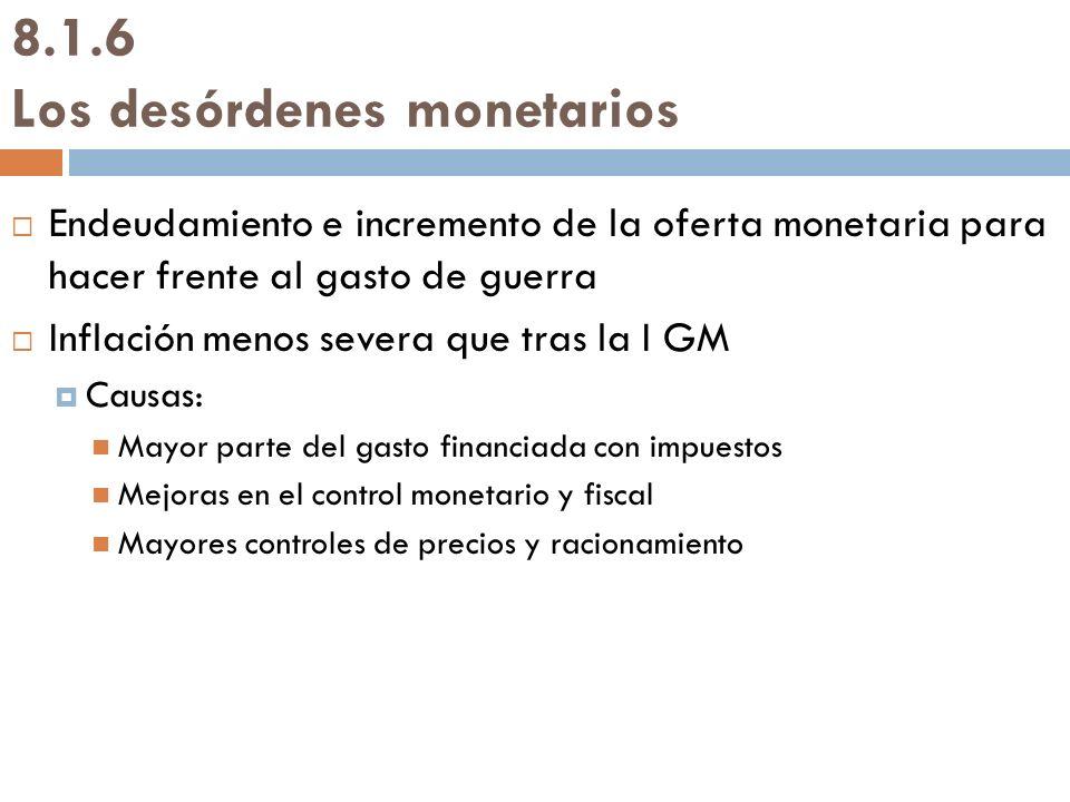 8.1.6 Los desórdenes monetarios