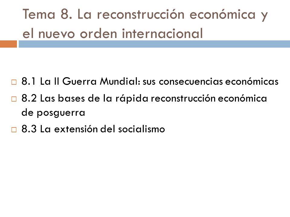 Tema 8. La reconstrucción económica y el nuevo orden internacional