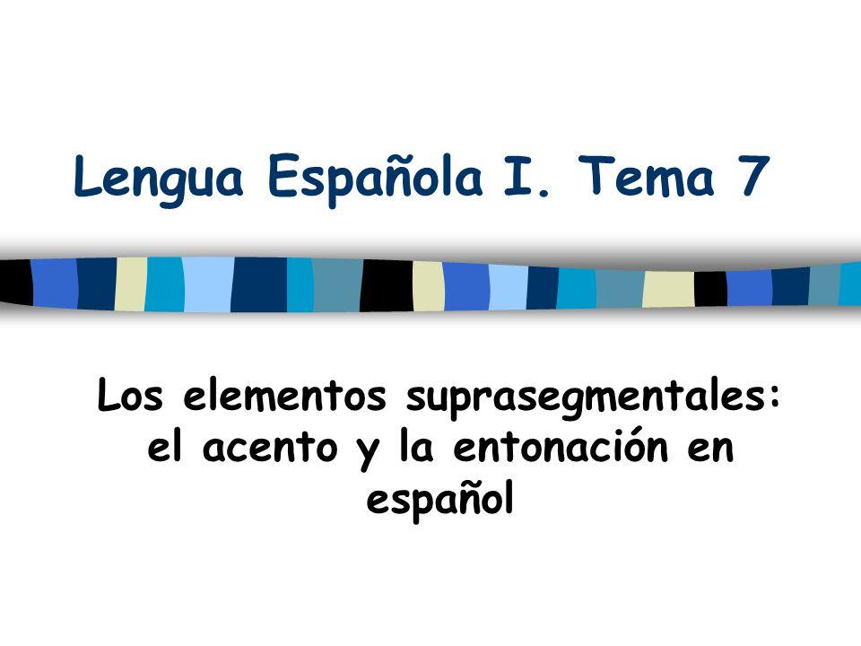 Los elementos suprasegmentales: el acento y la entonación en español