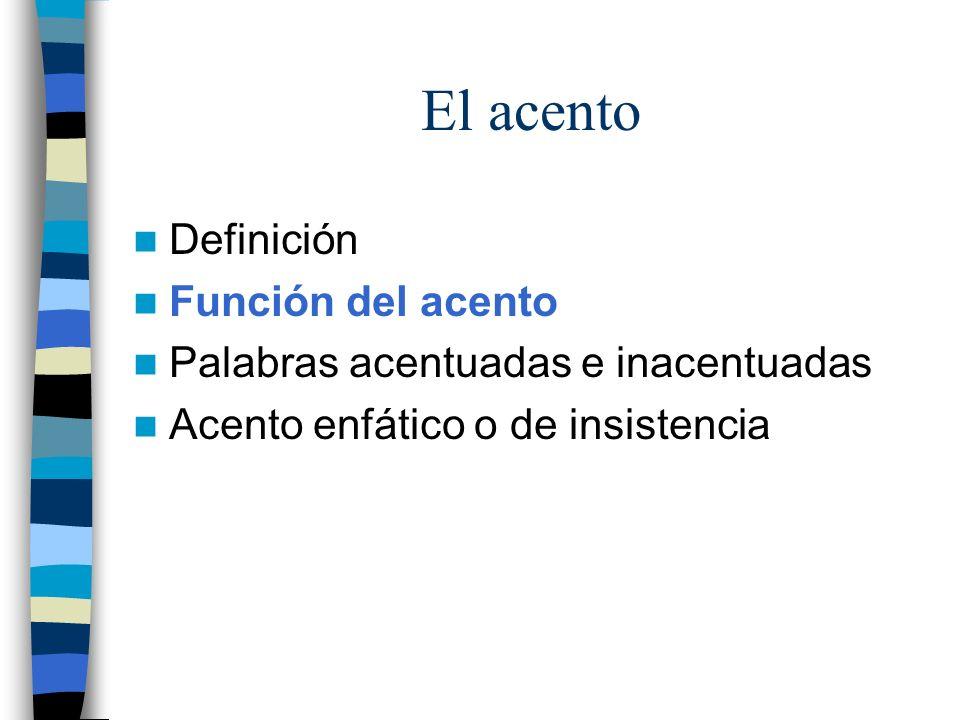 El acento Definición Función del acento