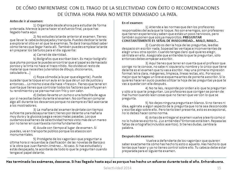 SELECTIVIDAD LENGUA CASTELLANA Y LITERATURA ppt descargar