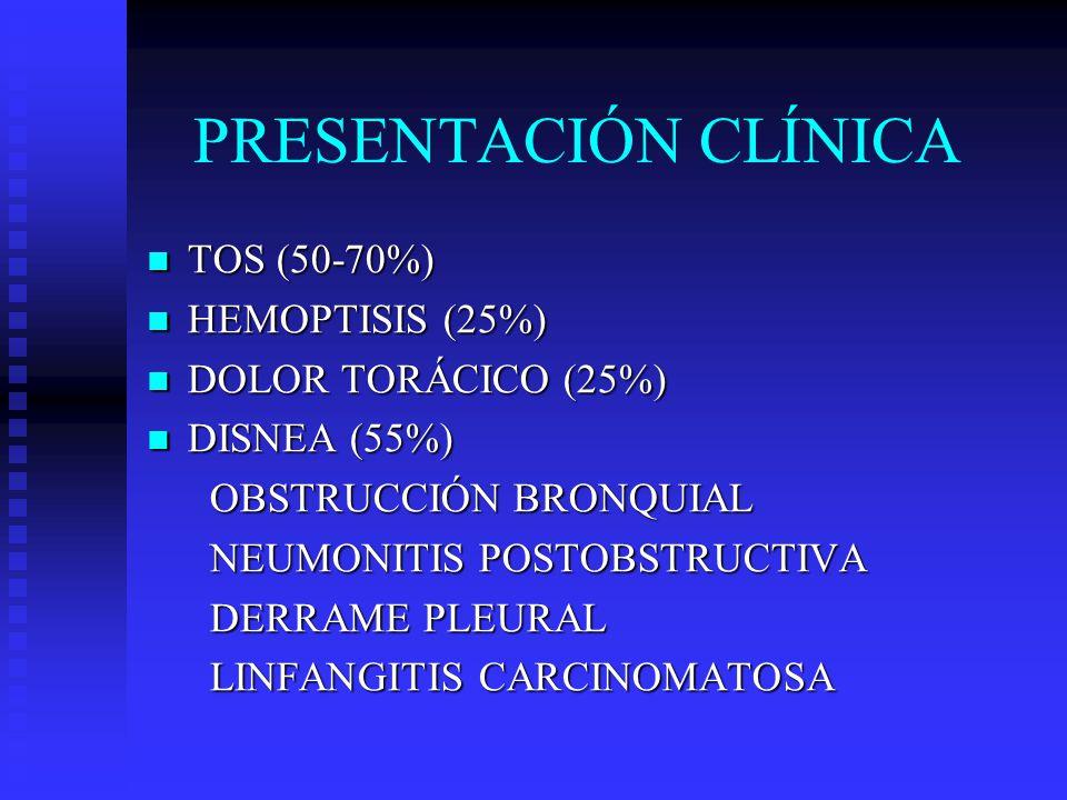 PRESENTACIÓN CLÍNICA TOS (50-70%) HEMOPTISIS (25%)