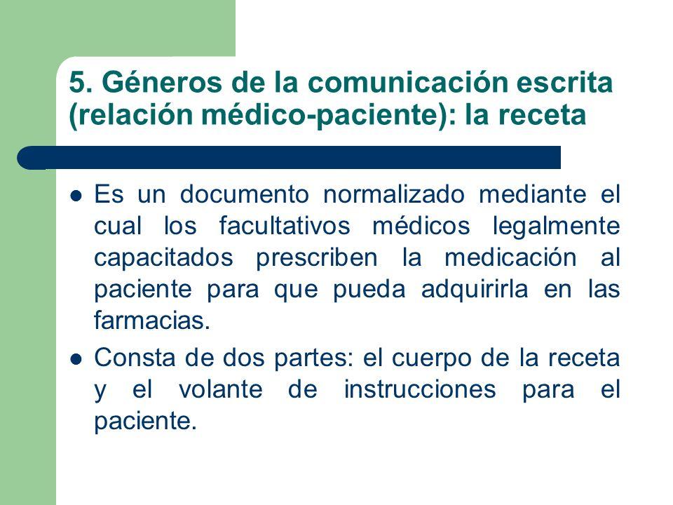 5. Géneros de la comunicación escrita (relación médico-paciente): la receta