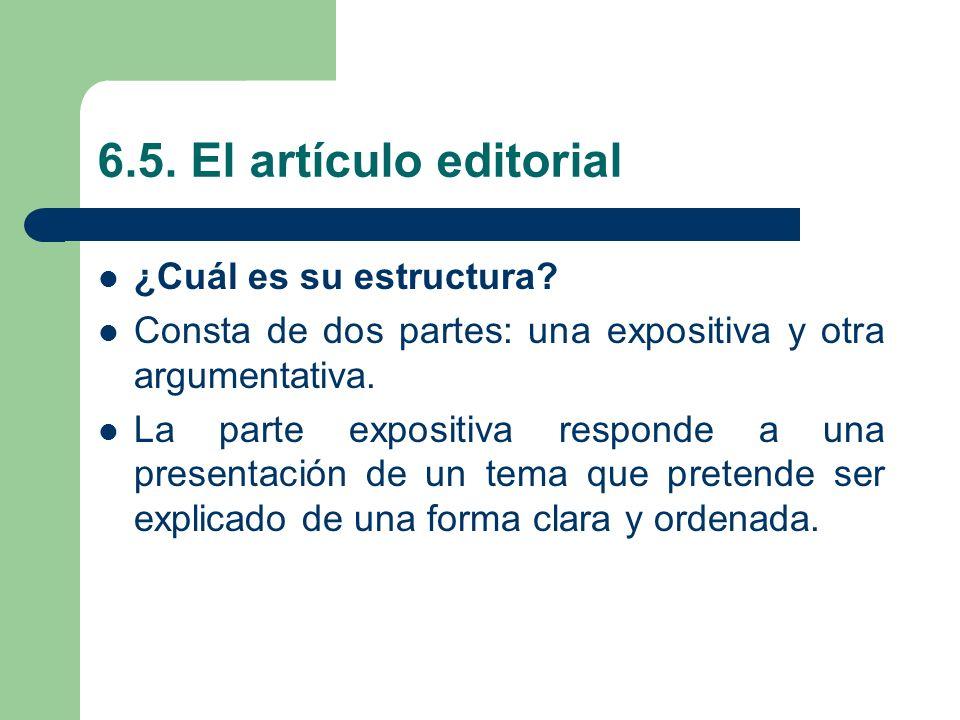 6.5. El artículo editorial ¿Cuál es su estructura