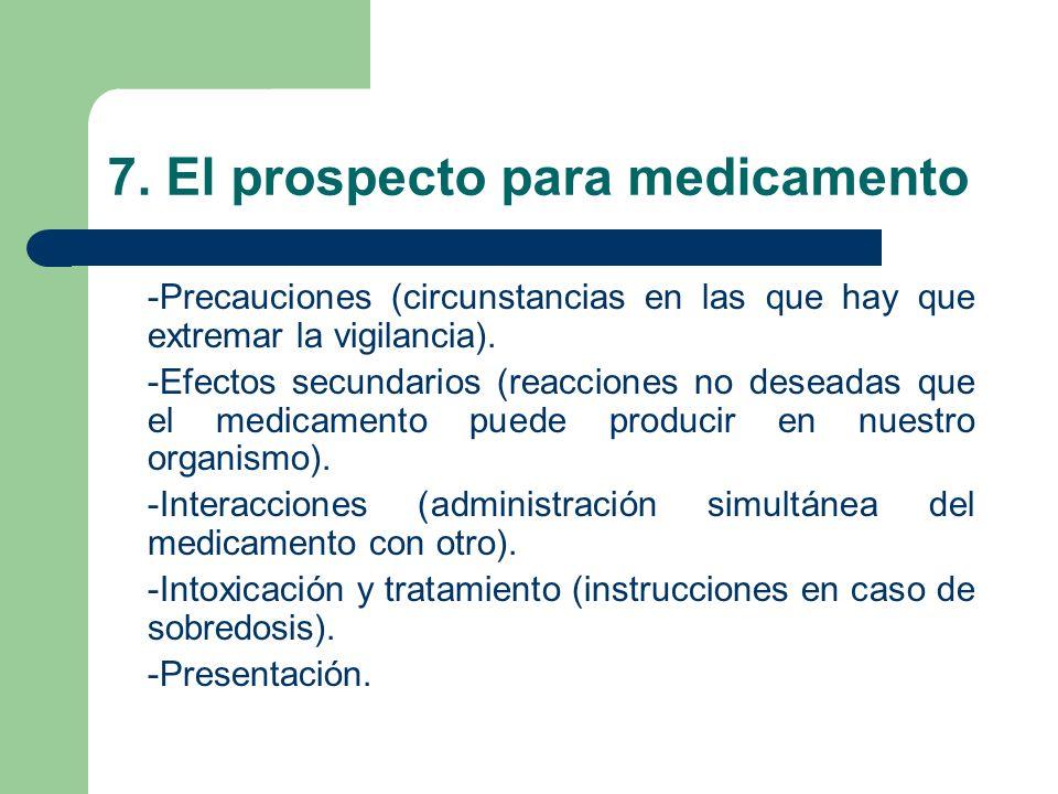 7. El prospecto para medicamento