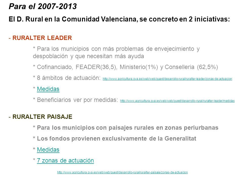 Para el 2007-2013 El D. Rural en la Comunidad Valenciana, se concreto en 2 iniciativas: RURALTER LEADER.