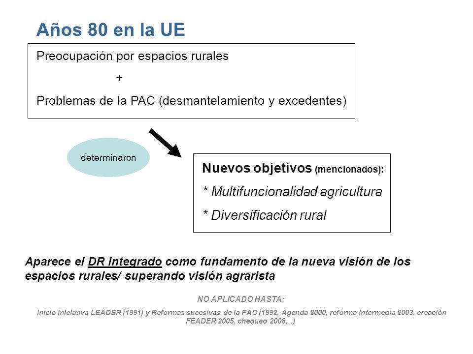 Años 80 en la UE Nuevos objetivos (mencionados):