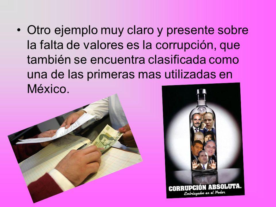 Otro ejemplo muy claro y presente sobre la falta de valores es la corrupción, que también se encuentra clasificada como una de las primeras mas utilizadas en México.