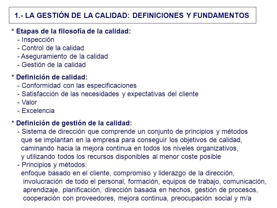 1.- LA GESTIÓN DE LA CALIDAD: DEFINICIONES Y FUNDAMENTOS