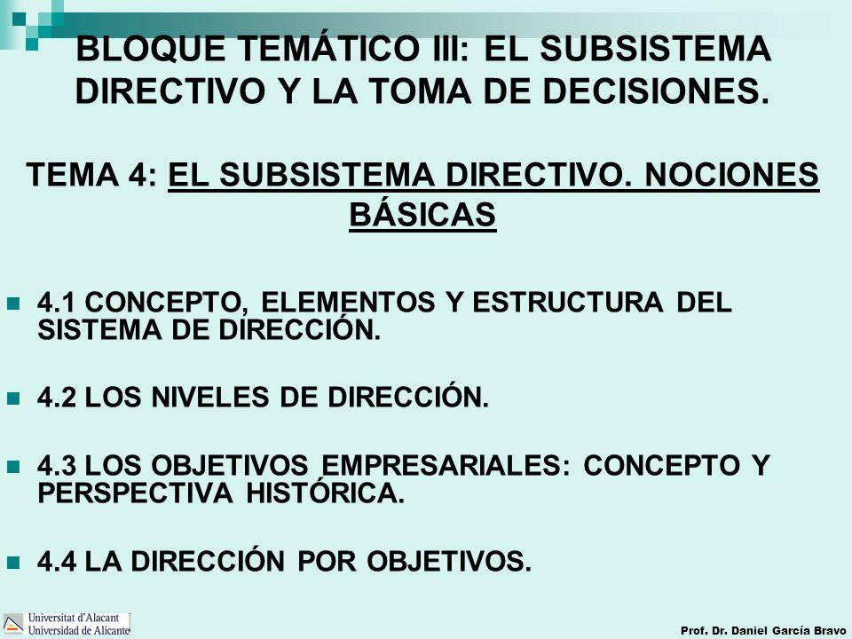 BLOQUE TEMÁTICO III: EL SUBSISTEMA DIRECTIVO Y LA TOMA DE DECISIONES