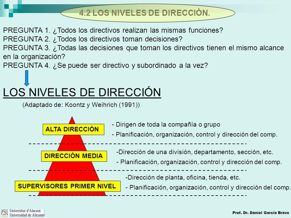 4.2 LOS NIVELES DE DIRECCIÓN.