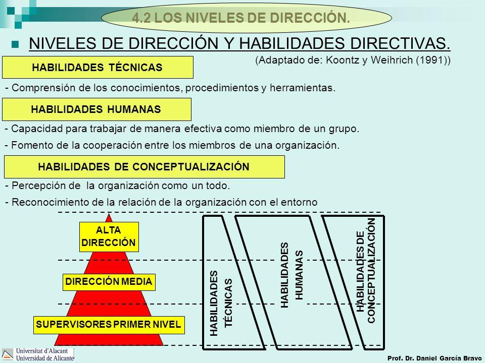NIVELES DE DIRECCIÓN Y HABILIDADES DIRECTIVAS.