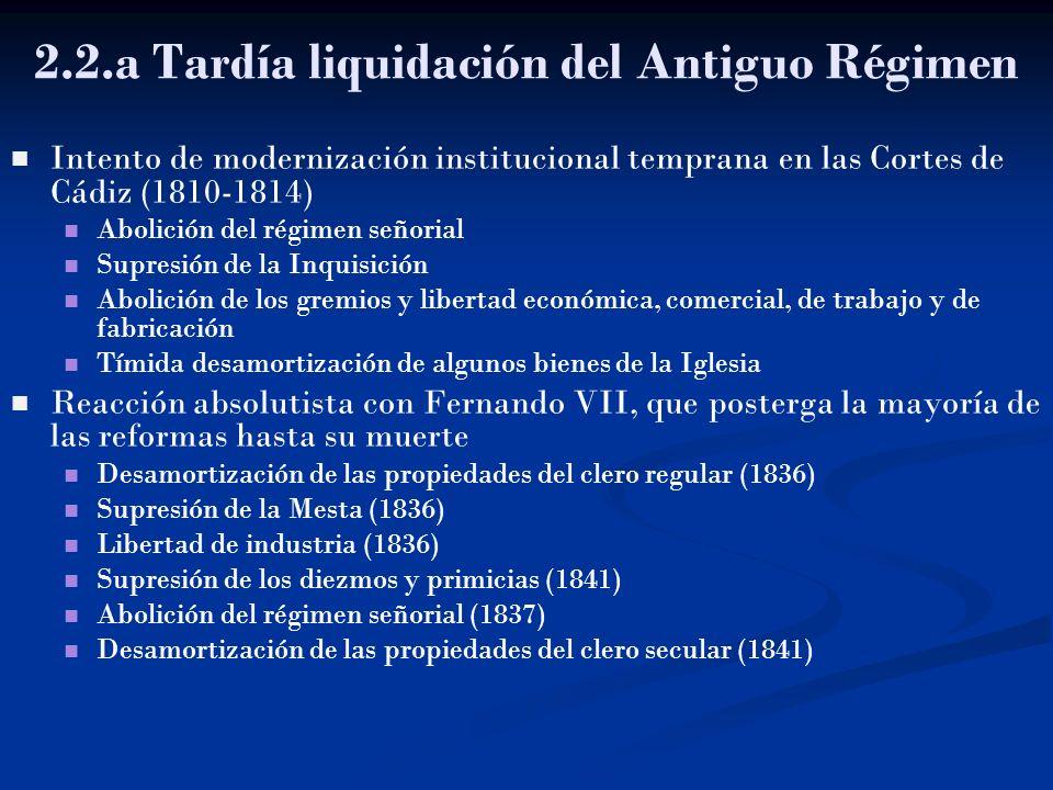 2.2.a Tardía liquidación del Antiguo Régimen