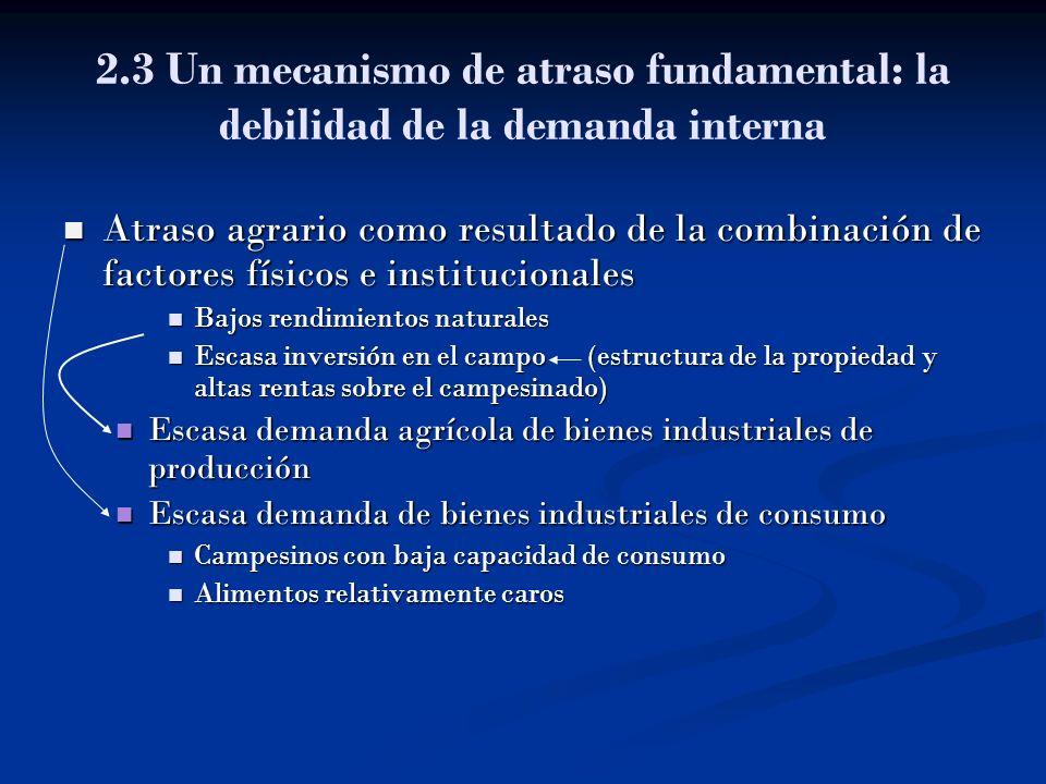 2.3 Un mecanismo de atraso fundamental: la debilidad de la demanda interna