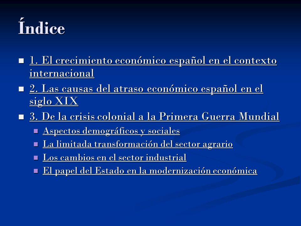 Índice 1. El crecimiento económico español en el contexto internacional. 2. Las causas del atraso económico español en el siglo XIX.