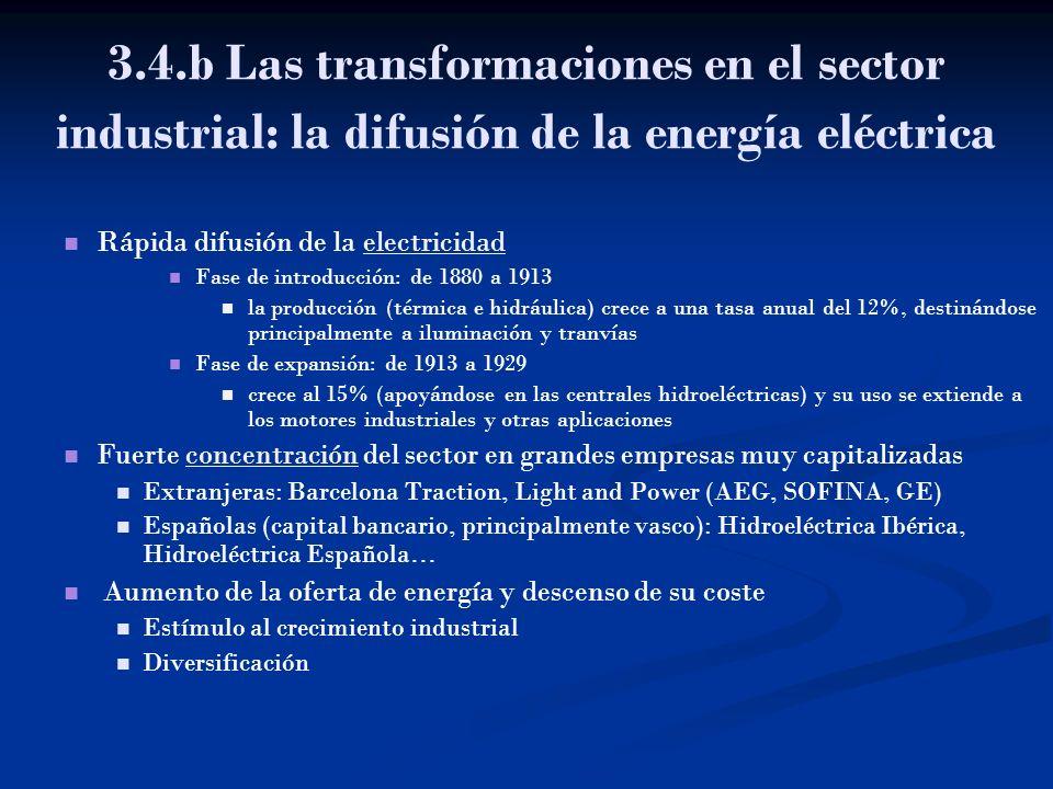 3.4.b Las transformaciones en el sector industrial: la difusión de la energía eléctrica