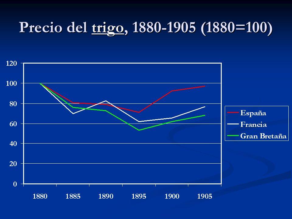 Precio del trigo, 1880-1905 (1880=100)
