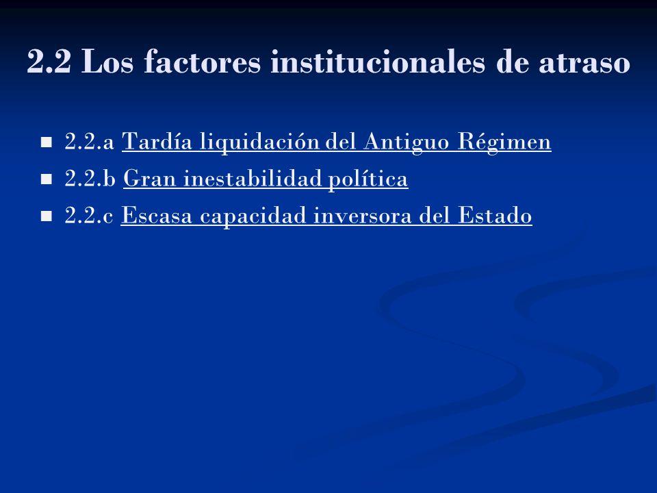2.2 Los factores institucionales de atraso