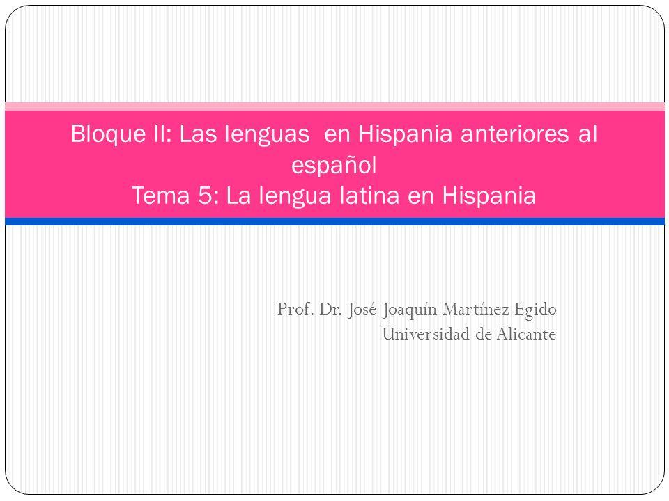 Prof. Dr. José Joaquín Martínez Egido Universidad de Alicante
