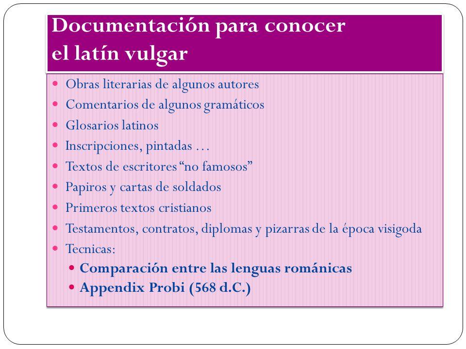 Documentación para conocer el latín vulgar