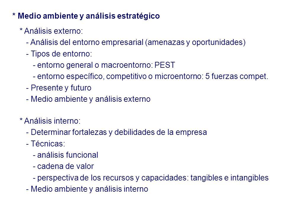 * Medio ambiente y análisis estratégico