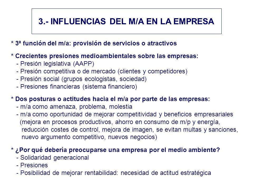 3.- INFLUENCIAS DEL M/A EN LA EMPRESA