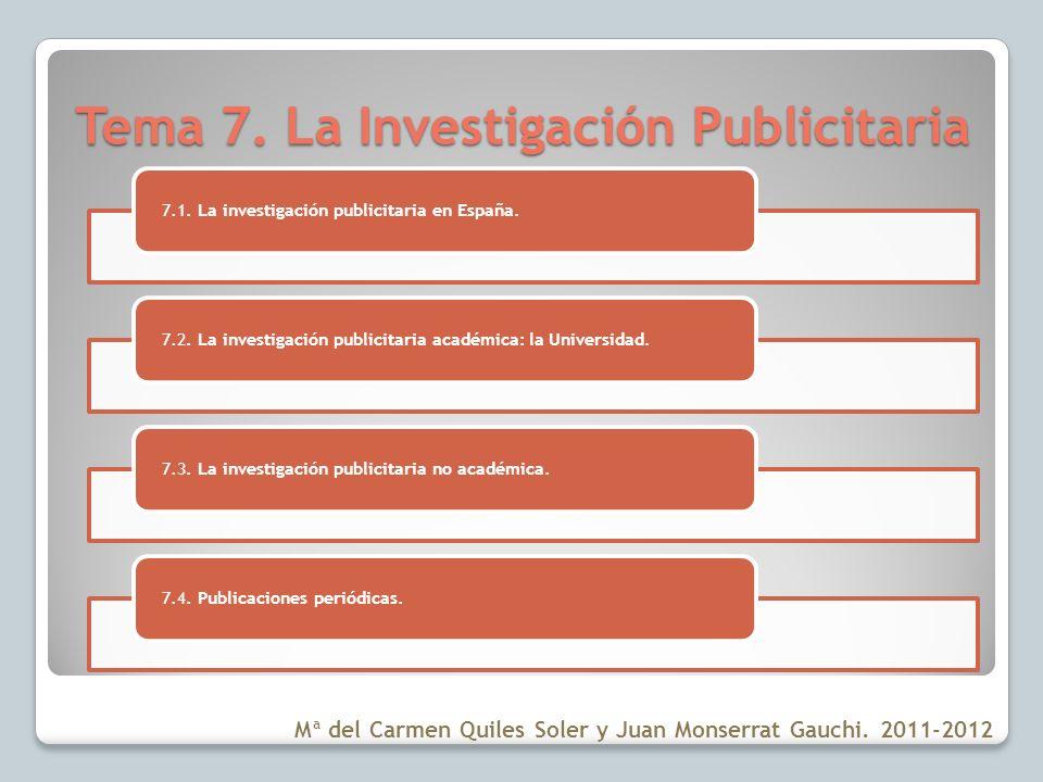 Tema 7. La Investigación Publicitaria