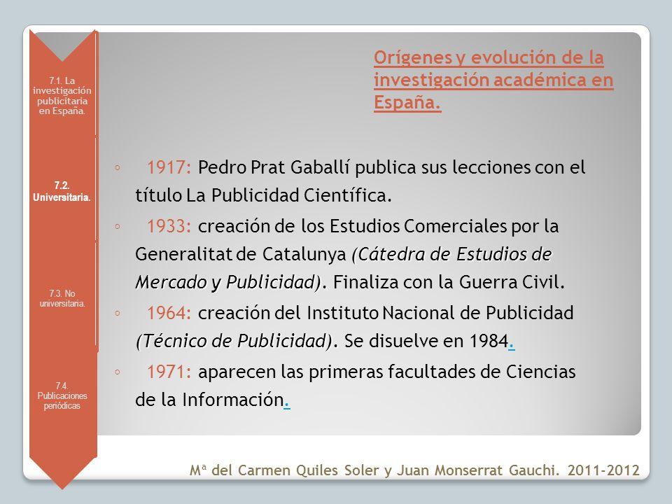 Orígenes y evolución de la investigación académica en España.