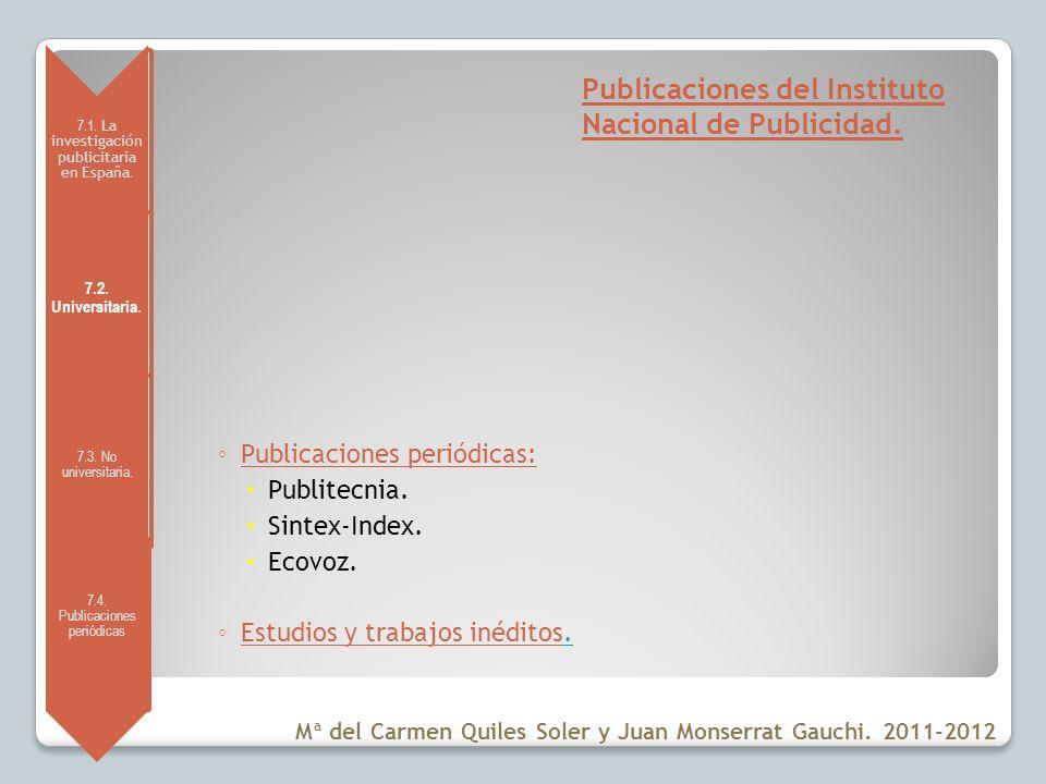 Publicaciones del Instituto Nacional de Publicidad.