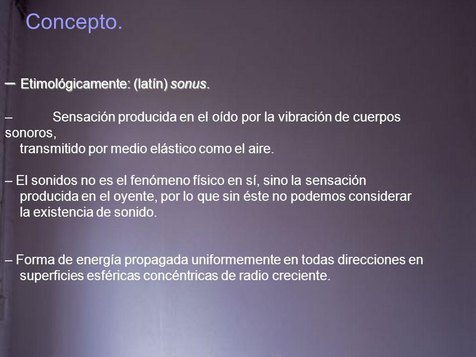 Concepto. Etimológicamente: (latín) sonus.