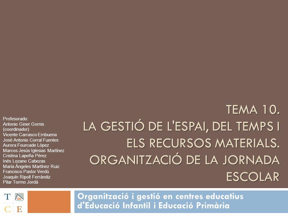 Tema 10. LA GESTIÓ DE L ESPAI, DEL TEMPS I ELS RECURSOS MATERIALS
