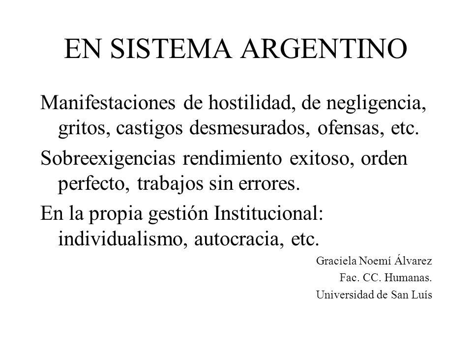 EN SISTEMA ARGENTINO Manifestaciones de hostilidad, de negligencia, gritos, castigos desmesurados, ofensas, etc.