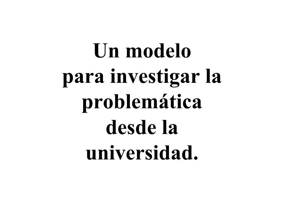 Un modelo para investigar la problemática desde la universidad.