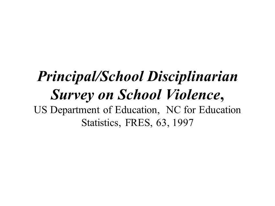 Principal/School Disciplinarian Survey on School Violence, US Department of Education, NC for Education Statistics, FRES, 63, 1997