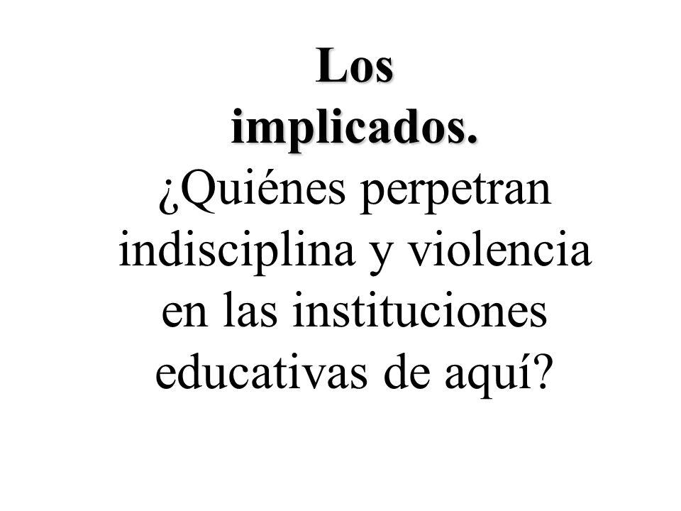 Los implicados. ¿Quiénes perpetran indisciplina y violencia en las instituciones educativas de aquí