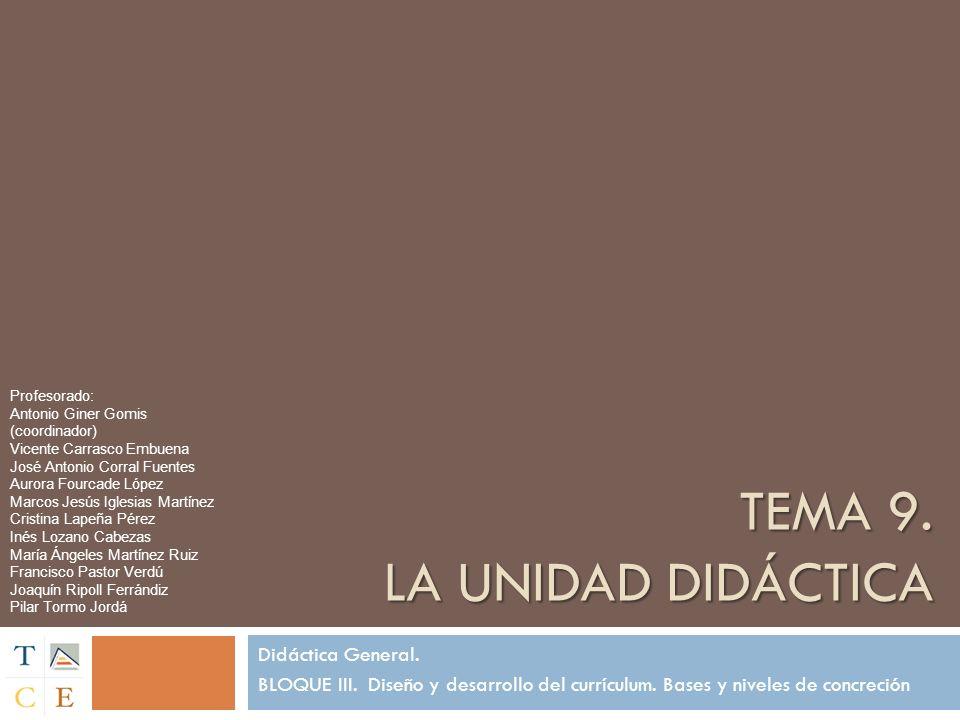 Tema 9. La unidad didáctica