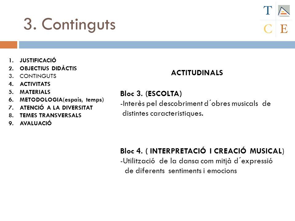 3. Continguts ACTITUDINALS Bloc 3. (ESCOLTA)