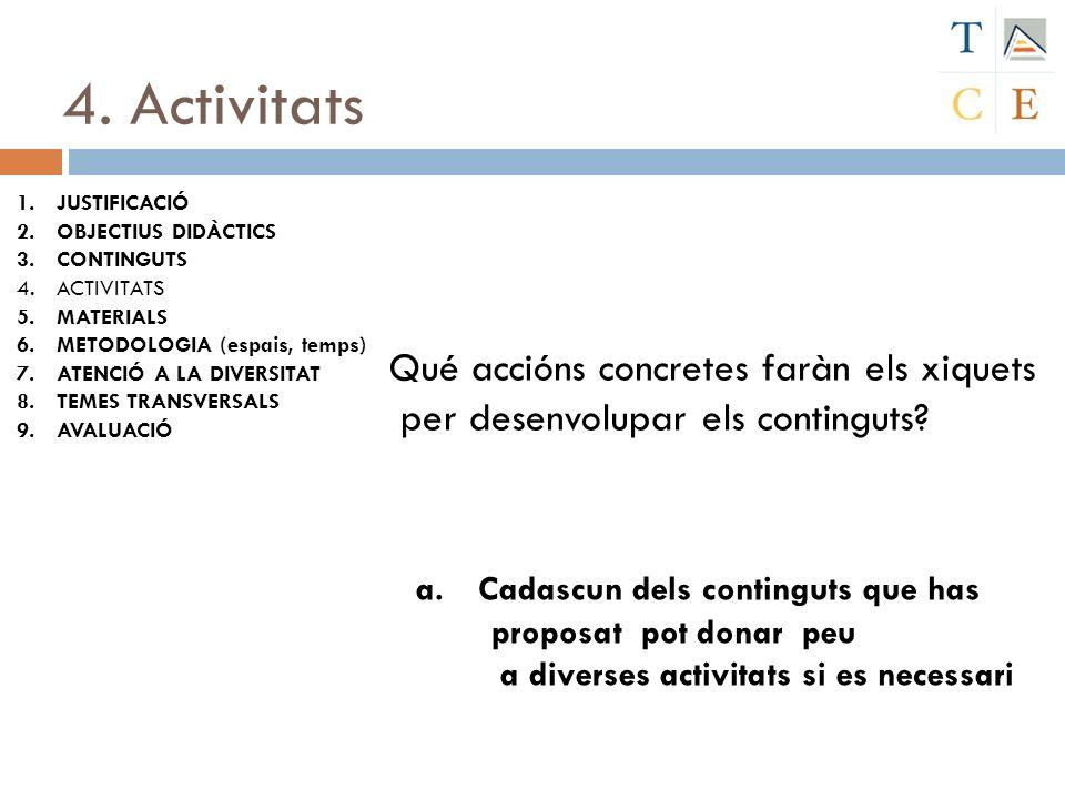 4. Activitats Qué accións concretes faràn els xiquets