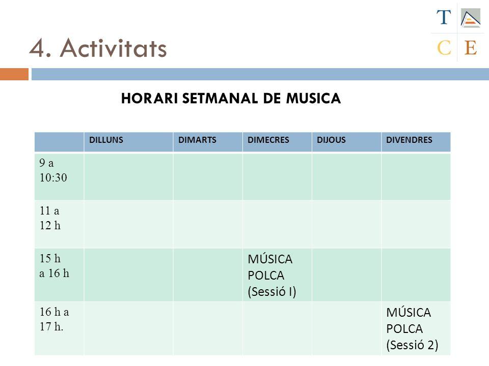 4. Activitats HORARI SETMANAL DE MUSICA MÚSICA POLCA (Sessió I)