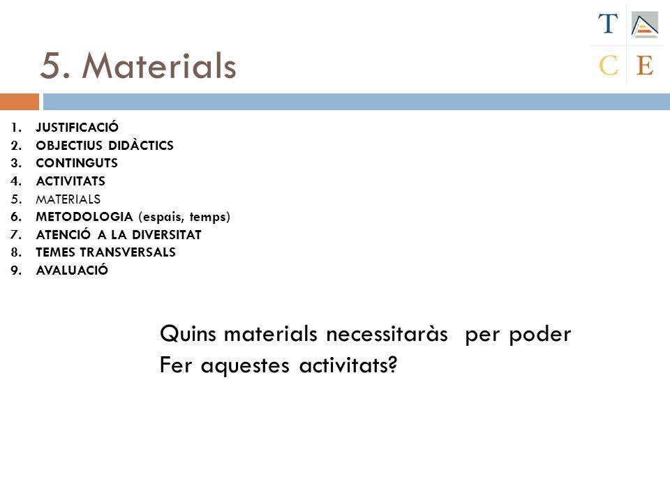 5. Materials Quins materials necessitaràs per poder