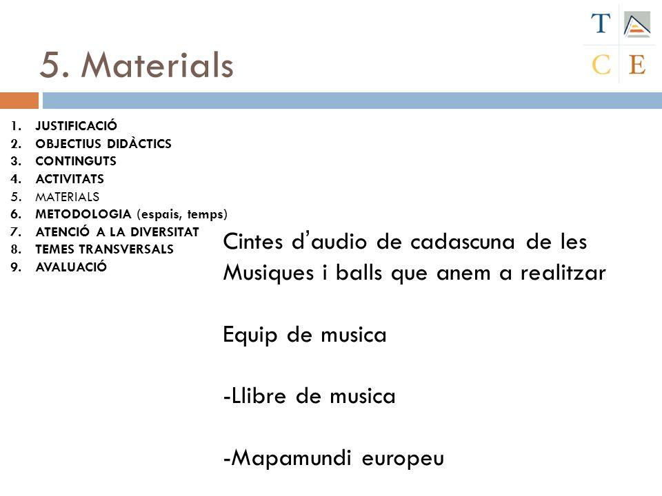 5. Materials Cintes d'audio de cadascuna de les