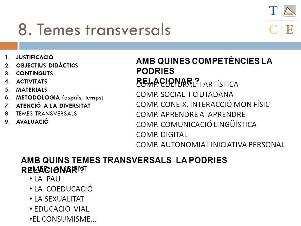 8. Temes transversals AMB QUINES COMPETÈNCIES LA PODRIES RELACIONAR