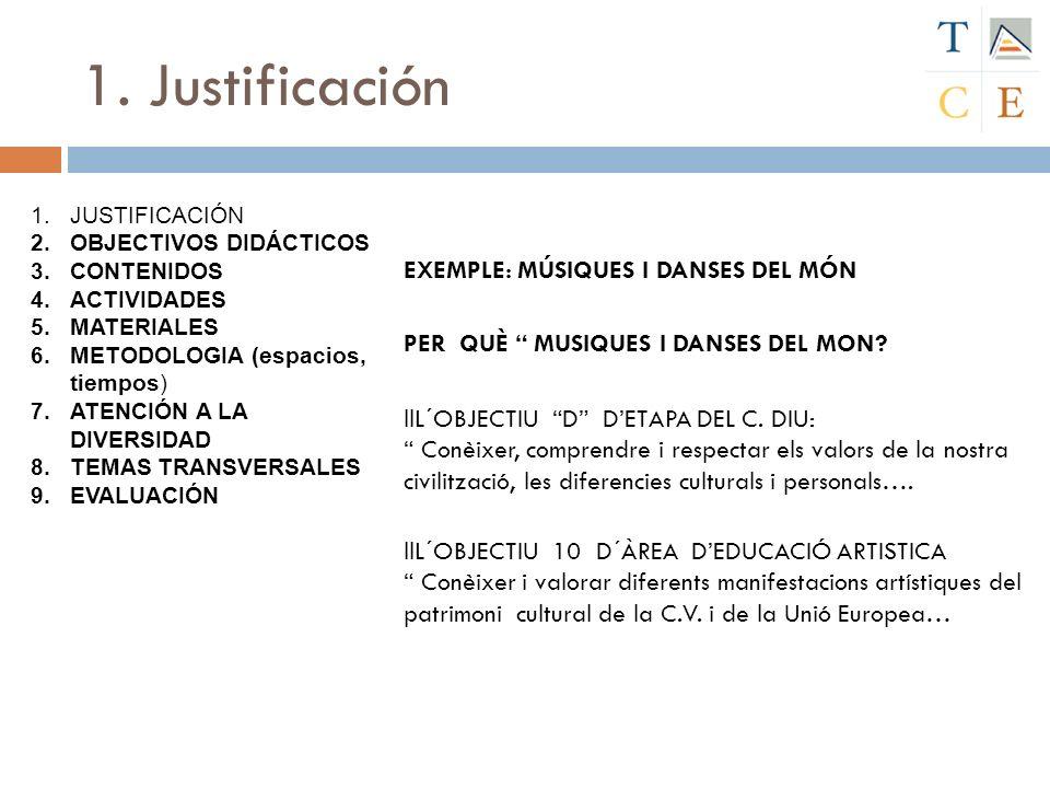 1. Justificación EXEMPLE: MÚSIQUES I DANSES DEL MÓN