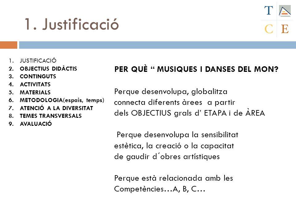 1. Justificació PER QUÈ MUSIQUES I DANSES DEL MON