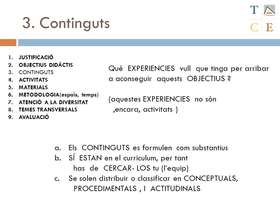 3. Continguts JUSTIFICACIÓ. OBJECTIUS DIDÀCTIS. CONTINGUTS. ACTIVITATS. MATERIALS. METODOLOGIA(espais, temps)