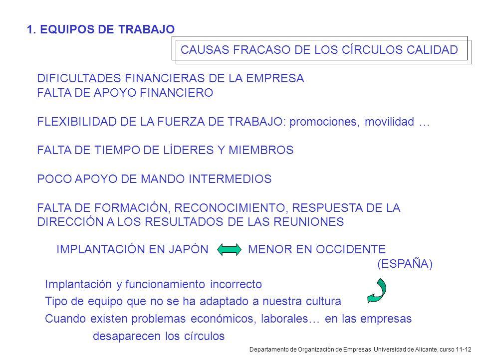 CAUSAS FRACASO DE LOS CÍRCULOS CALIDAD
