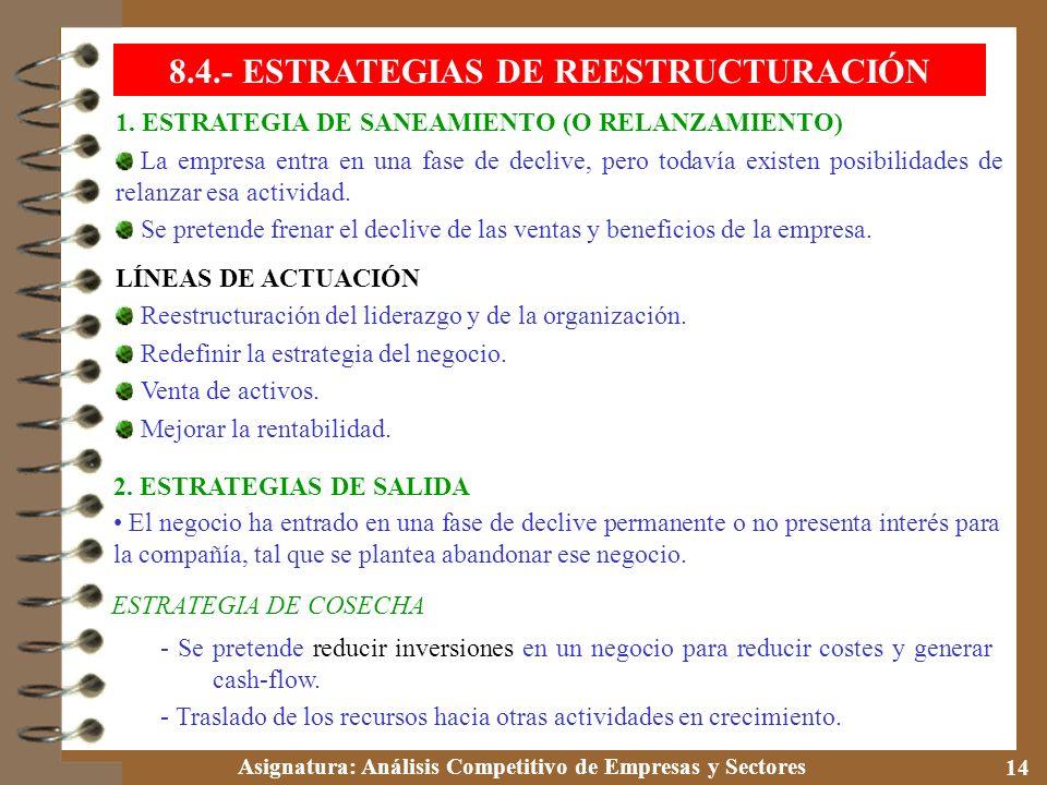 8.4.- ESTRATEGIAS DE REESTRUCTURACIÓN