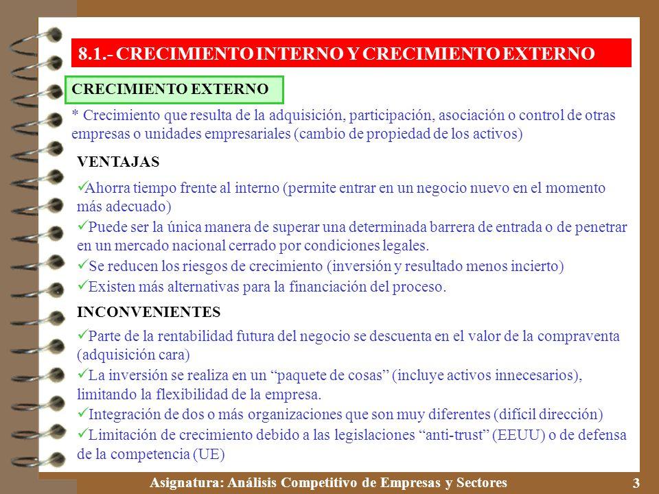 8.1.- CRECIMIENTO INTERNO Y CRECIMIENTO EXTERNO